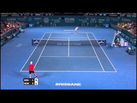 Sam Groth v Lleyton Hewitt highlights (1R) - Brisbane International 2015