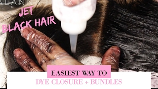 HOW TO DYE YOUR HAIR BLACK (BUNDLES + FRONTAL) | EASIEST HAIR DYING HACK