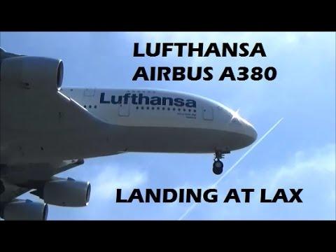 Lufthansa Airbus A380-800 Landing at LAX Los Angeles International Airport