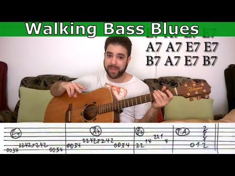 Tutorial: Fingerstyle Blues With Walking Bass + Improvisation Tips & Exercises