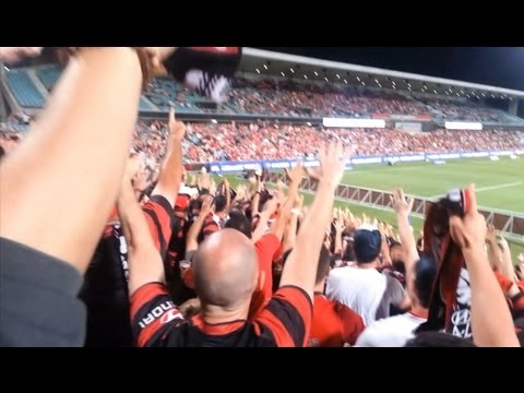 Western Sydney Wanderers 6 - 1 Adelaide United (21/12/2012). Cross-terrace chants &quot;who do we sing for?&quot;, view from the RBB. Recorded using the Samsung Galaxy...