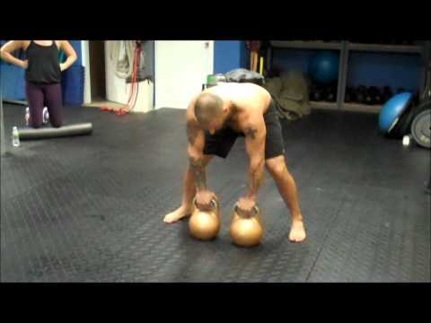 Double 48kg Kettlebell Clean Squat Press Image 1