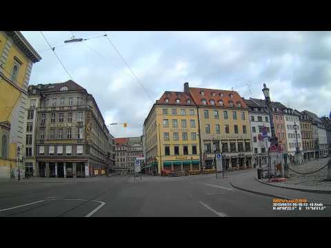 D: München. Munich. Driving through the city center. May 2015