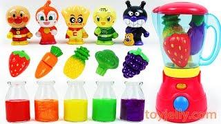 Learn Colors Feeding Yummy Food Anpanman Baby Dolls Fruit Vegetable Blender Toys Kids Nursery Rhymes