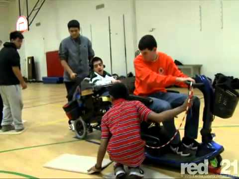 Tom Harlow, teaches adaptive PE courses for students with disabilities at Falls Church HS.