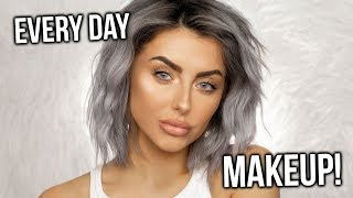 UPDATED EVERY DAY GLAM MAKEUP TUTORIAL! GLOSSY LIPS + NO FALSE LASHES