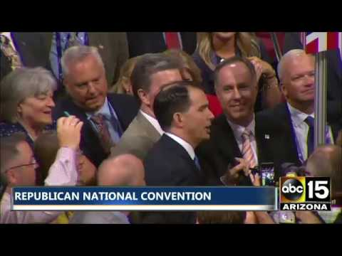 Governor of Wisconsin Scott Walker casts vote for Donald Trump at Republican National Convention