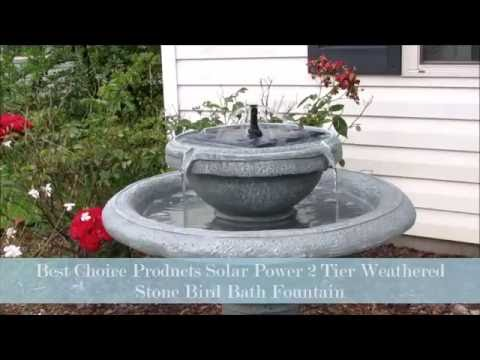 Best Choice Products Solar Power 2 Tier Weathered Stone Bird Bath Fountain