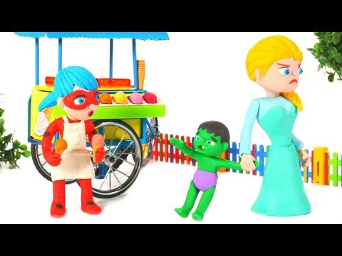 FUNNY KIDS & THE ICE CREAM PARLOR ❤ Play Doh Cartoons For Kids