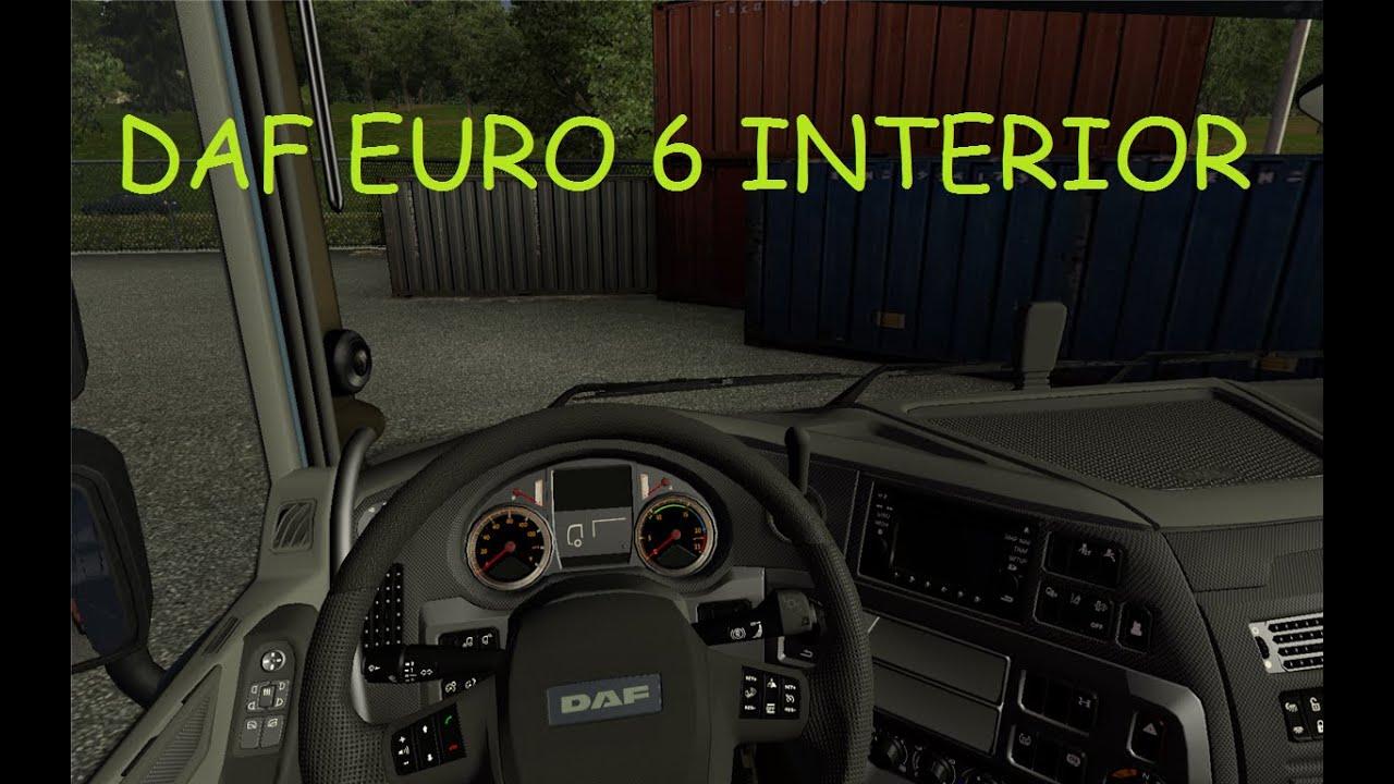 Daf xf euro 6 interior v 2 1 euro truck simulator 2 for Daf euro 6 interieur