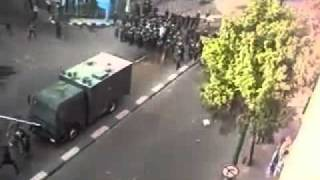 Brave Egyptian man stands against Armored Riot Vehicle on Jan 25 2011 demonstration and protest