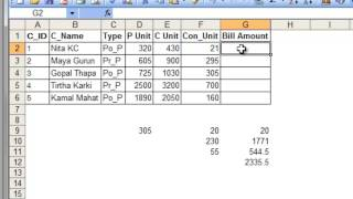 bill calculator excel