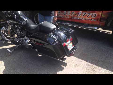 "4"" BIG LOUIE 3.0 SLASH DOWN CHROME SLIP ON MUFFLERS WITH SLASH DOWN TIP FOR STREETGLIDE"