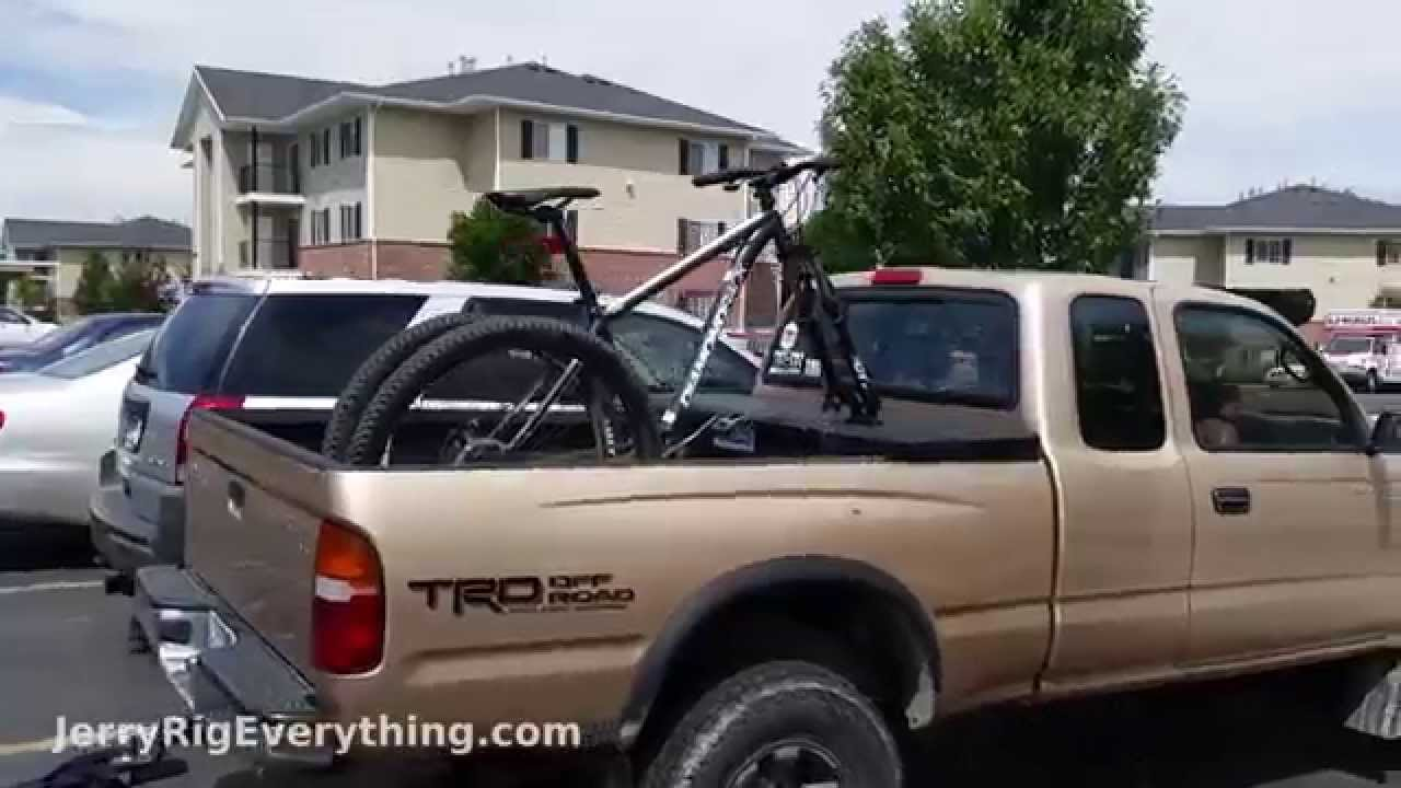 Tool Box For Truck Bed >> Mount your bike on a Truck Box - EASY - Mountian OR Road Bike - YouTube