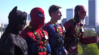 Window washers dress up as superheroes at Arkansas Children's Hospital
