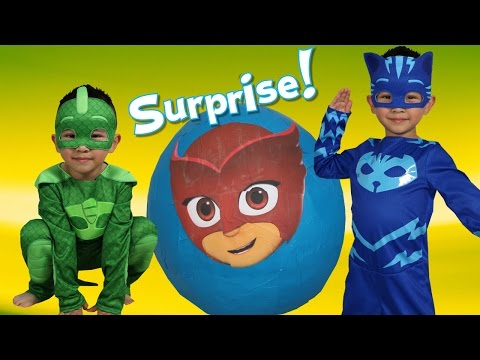 PJ MASKS Super Giant Toys Surprise Egg Opening Fun With Catboy Gekko  Ckn Toys