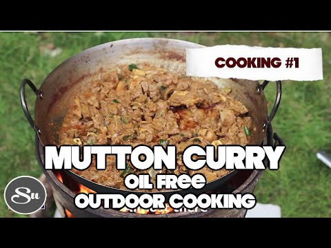 COOKING #1 | Oil free Mutton curry + Coconut milk | Outdoor Cooking using Recycled wood