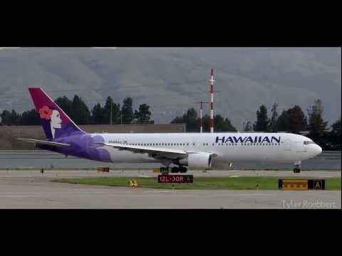 Hawaiian Airlines 767-300 Takeoff From San Jose International Airport