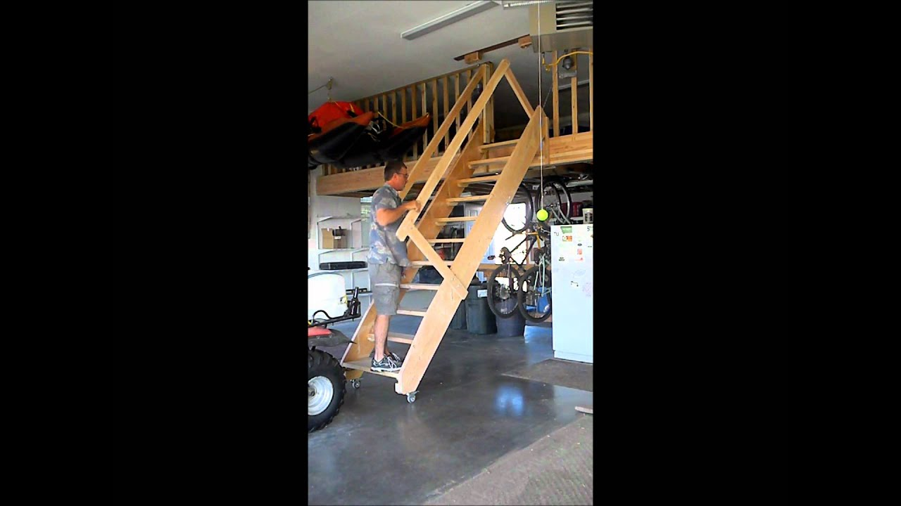 Rolling Garage Stairs Wmv Youtube