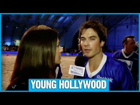 Ian Somerhalder Works Up a Sweat at the Super Bowl!