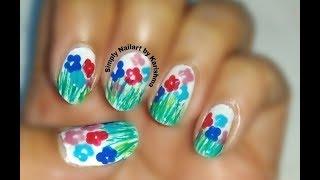 Flowers in Grass Nailart design | Easy Nailart design | Simply Nailart by Karishma