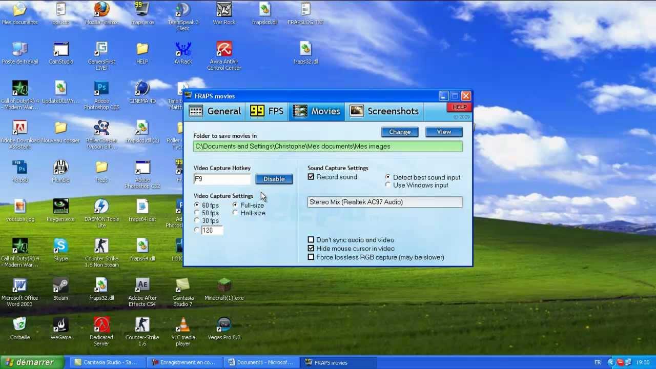 2. Fraps: Windows xp-n megoldható-e, hogy a fraps vegye a játék hangját és