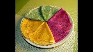 Цветные блины  / Блины на Масленицу / Pancakes рецепт / Рецепт блины на молоке