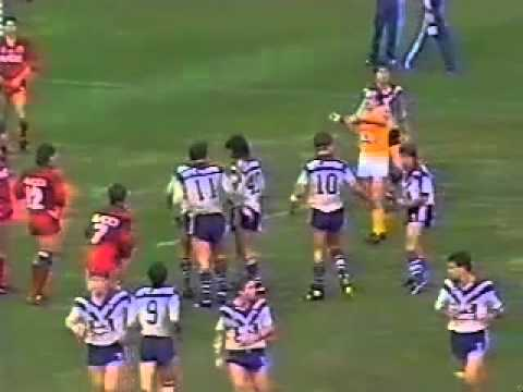 Extended match highlights of the 1986 Round 19 Winfield Cup clash between Canterbury-Bankstown Bulldogs and North Sydney Bears played at North Sydney Oval. Commentary from Ray Warren, Bill ...
