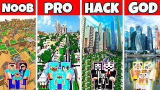 Minecraft: FAMILY MODERN CITY BUILD CHALLENGE - NOOB vs PRO vs HACKER vs GOD in Minecraft