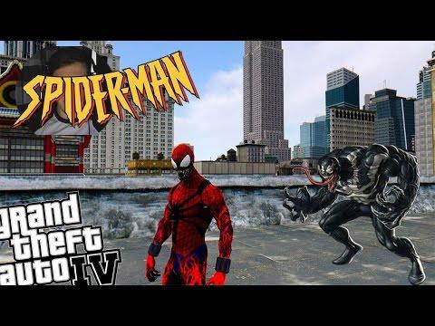 GTA 4 Spider-Carnage Mod + Venom Mod - Creepy Spiderman VS Venom
