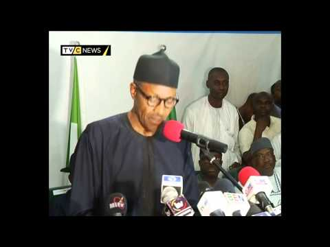 After his declaration as the Nigeria\'s president elect, Muhammadu Buhari of the All Progressives Congress delivered his acceptance speech at the party\'s National Headquarters, Abuja at about 6:06 Nigerian time on Thursday, April 1, 2015