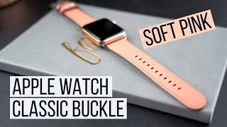 Soft Pink Apple Watch Leather Band   Classic Buckle