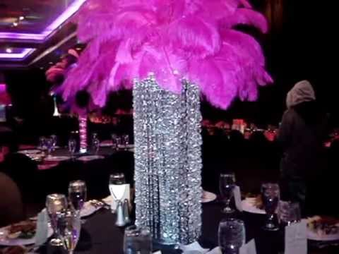 Rent Crystal Chandeliers With Hot Pink Ostrich Feathers By