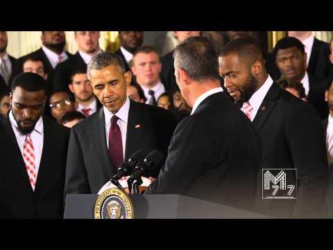 Ohio State Buckeyes Doran and Curtis Grant Show lov 2 President Obama