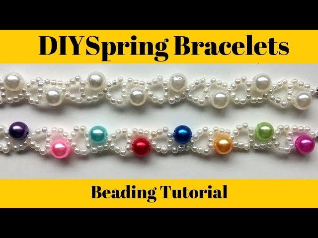Spring bracelet.  Beads bracelet making. Easy beading tutorial for beginners