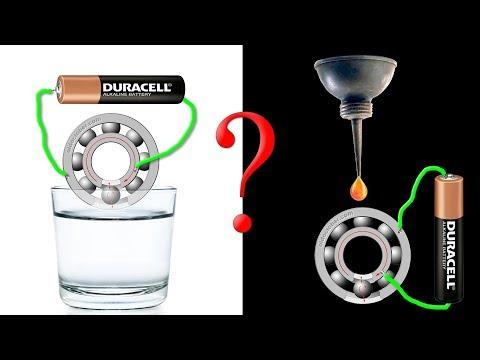 Мотор из шарикоподшипников в воде и масле. Часть 2