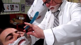 💈 Old School Italian Barber - Shave with Straight Razor and hot towel - ASMR intentional sounds
