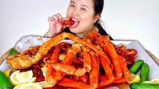 KING CRAB LEGS + GIANT SHRIMP + SNOW CRAB LEGS + CRAWFISH SEAFOOD BOIL MUKBANG 먹방 EATING SHOW!