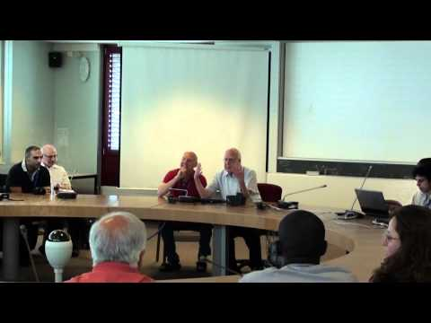 Peter Higgs gives a lecture at CERN july 3 2012