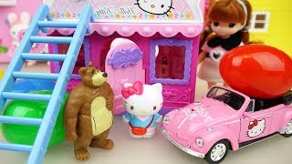 Hello Kitty Car toy and House Baby doll shop surprise eggs Baby Doli play