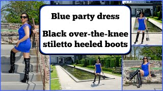 Crossdresser - blue party dress and over the knee boots with stiletto heels | NatCrys