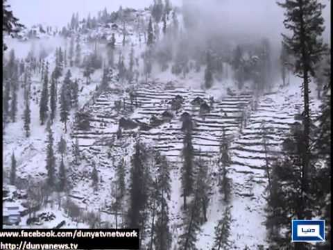 Dunya News   Visitors take to tourists' spots after snowfall in Azad Kashmir