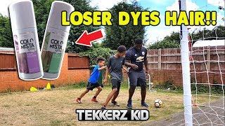 Tekkerz Kid amp Romello vs The Dad | HAIR DYE FORFEIT Football Challenge