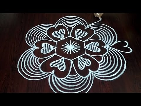 Very Simple Dotted Kolam ||  Heart Shape Rangoli Design || Love Shape Rangoli || Fashion World