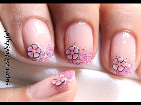 Pink Glitter Tips + Fimo Flower ❤ Cute Nail Art Fimo Cane Nail Designs Tutorial
