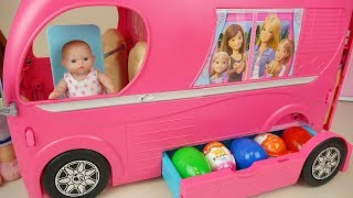 Baby doll pink bus car toy and surprise eggs baby Doli picnic play