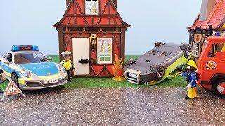 Fireman Sam Toys Playmobil Police Porsche 911 Car Crash Fire Station Toy Jupiter Firefighter Sam