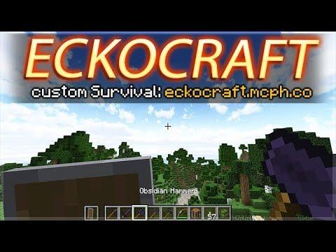 JOIN ECKOCRAFT CUSTOM SURVIVAL! - NEW OBSIDIAN TOOLS! MINECRAFT PC SERVER 1.13.1(eckocraft.mcph.co)