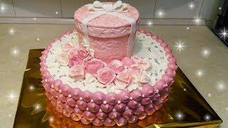 """Кремово-мастичный торт для дам """"Розовый подарок"""" / Cream cake for women"""