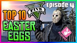 Top 10 GTA 5 Easter Eggs Ep.4 - (James Bond, Niko, Jason, Playboy, Steroids etc)